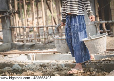Children Working On Construction Sites,  Poor Children, Poverty, Child Labor, Human Trafficking, Wor
