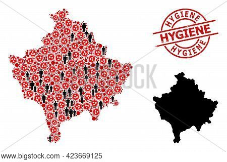 Mosaic Map Of Kosovo Organized From Flu Virus Icons And Men Icons. Hygiene Textured Badge. Black Cro