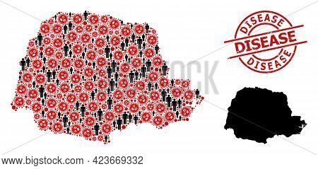 Collage Map Of Parana State Composed Of Coronavirus Icons And Men Elements. Disease Distress Waterma