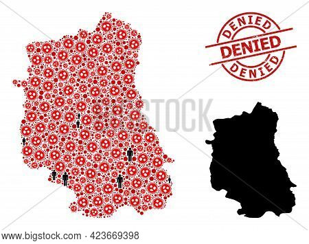 Mosaic Map Of Lublin Province Organized From Virus Outbreak Icons And Men Icons. Denied Textured Wat