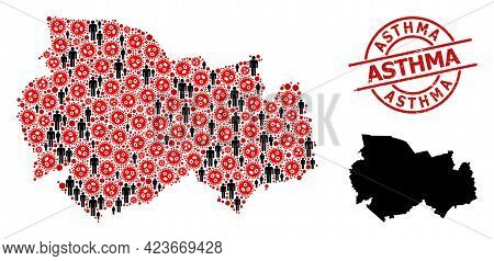 Mosaic Map Of Novosibirsk Region Constructed From Flu Virus Items And Men Items. Asthma Scratched St