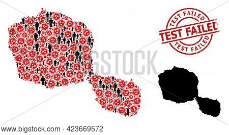 Collage Map Of Tahiti Island Composed Of Covid Infection Elements And People Elements. Test Failed G