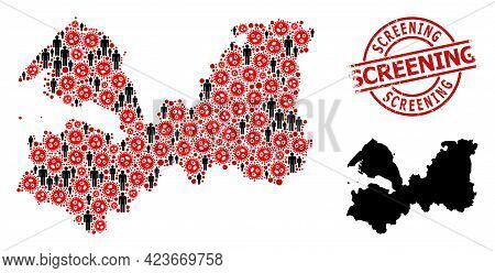 Mosaic Map Of Leningrad Region Constructed From Covid Virus Icons And People Items. Screening Grunge