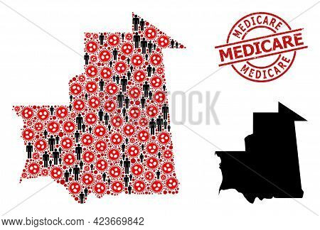 Collage Map Of Mauritania Constructed From Virus Outbreak Elements And Demographics Elements. Medica