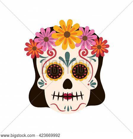 Girl Mexican Traditional Sugar Skulls And Colorful Flowers.dia De Los Muertos Concept. Vector Stock