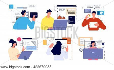 People Programming. Professional Geek, Working Screens Java Technology Coder. Cartoon Flat Computer