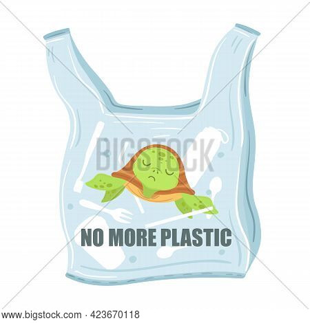 Stop Plastic Pollution. Plastic Bags With Turtle Inside. Saving World And Ocean, Garbage Ecological
