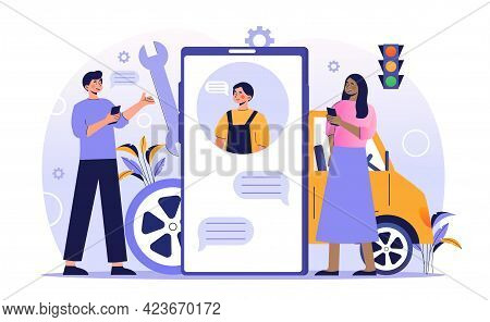 Male And Female Characters Are Using Online Car Service On Smartphone. Concept Of Car Service Online