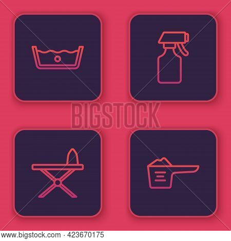 Set Line Temperature Wash, Iron And Ironing Board, Water Spray Bottle And Washing Powder. Blue Squar