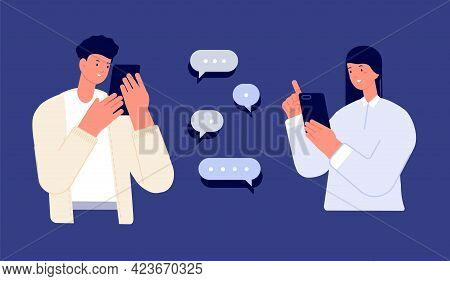 Couple Mobile Chatting. Teenagers Chat, Feedback Or Mobile Friendship. Two Teens Smart Talking Onlin