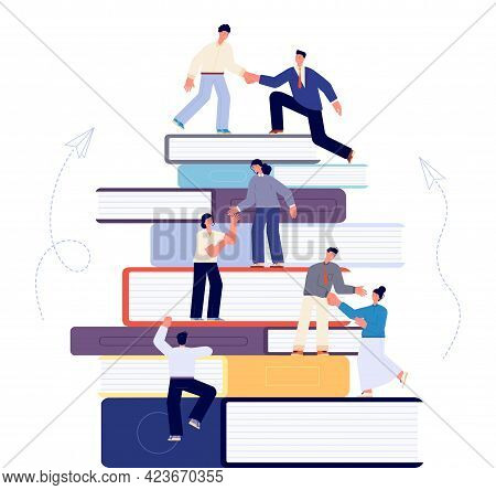 Climbing On Books. Learning Book, Student Studying Goals. Education Or Career Motivation, Climb Busi