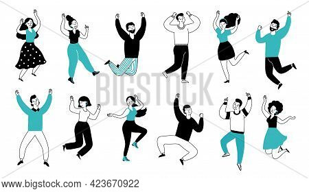 Happy People Jumping. Smiling Fun Boy, Isolated Casual Young Man. Happiness Lifestyle, Business Pers