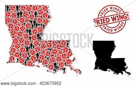 Mosaic Map Of Louisiana State Composed Of Flu Virus Icons And People Icons. Fried Wings Grunge Seal.