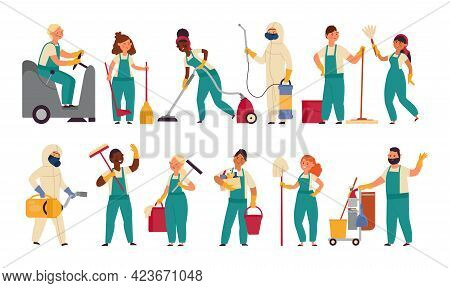 Cleaner Workers. Housework Girl, Cleaning Service Worker. Cartoon Housekeeping, Woman Holding Mop. S