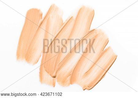 Light Make Up Base Swatches Isolated On White Background. Sample Of Cc, Bb Cream, Corrector Or Liqui