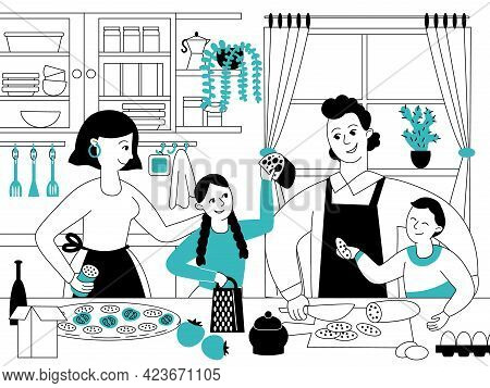 Family Cooking. Mother Son Cook, Parents And Kids Dinner Prepare. Young Person Eating, Housewife On