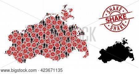 Collage Map Of Mecklenburg-vorpommern State Constructed From Viral Elements And People Items. Shake