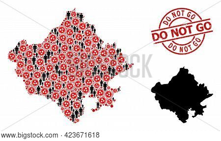 Collage Map Of Rajasthan State Constructed From Flu Virus Elements And Humans Elements. Do Not Go Te