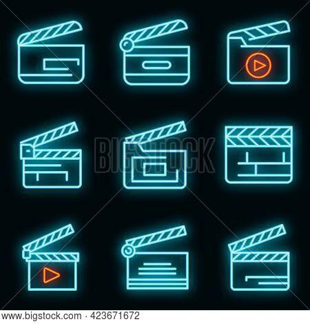Clapper Icons Set. Outline Set Of Clapper Vector Icons Neon Color On Black