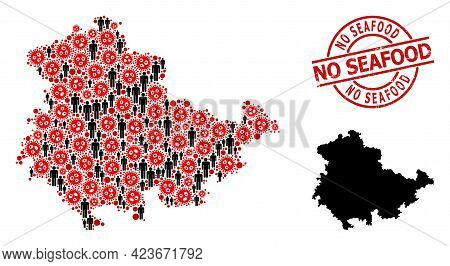 Mosaic Map Of Thuringia State Designed From Flu Virus Elements And People Icons. No Seafood Grunge S