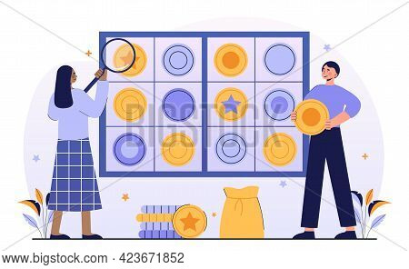 Male And Female Characters Collecting Ancient Coins Together. Concept Of Numismatist Hobby Or Profes