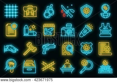 Investigator Icons Set. Outline Set Of Investigator Vector Icons Neon Color On Black