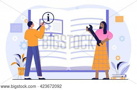 Male And Female Characters Are Studying Computer Manual Book Together. Concept Of Electronic Goods T