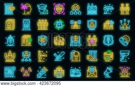 Personal Guard Icons Set. Outline Set Of Personal Guard Vector Icons Neon Color On Black