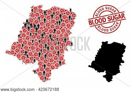Mosaic Map Of Opole Province Composed Of Coronavirus Icons And People Icons. Blood Sugar Textured Wa