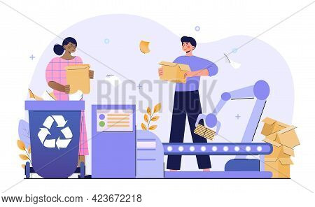 Male And Female Characters Are Working At Paper Waste Factory. Concept Of Paper Waste, Environmental