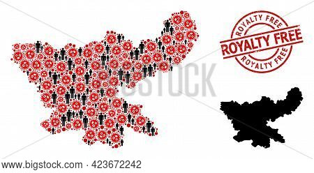 Collage Map Of Jharkhand State Organized From Covid Elements And Men Icons. Royalty Free Distress Se