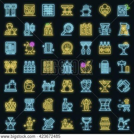 Bartender Icons Set. Outline Set Of Bartender Vector Icons Neon Color On Black