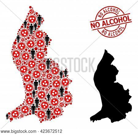 Mosaic Map Of Liechtenstein United From Virus Outbreak Icons And People Elements. No Alcohol Grunge