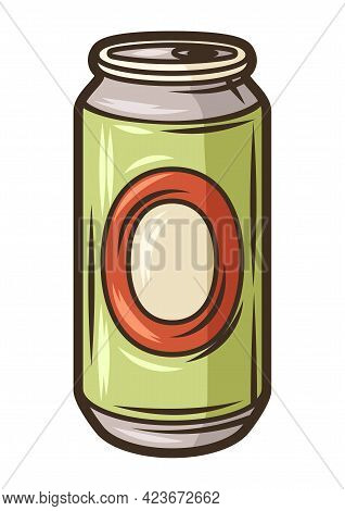 Illustration Of Aluminum Beer Can. Object In Engraving Hand Drawn Style. Old Element For Beer Festiv