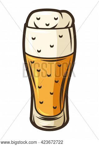 Illustration Of Glass Goblet With Beer. Object In Engraving Hand Drawn Style. Old Element For Beer F