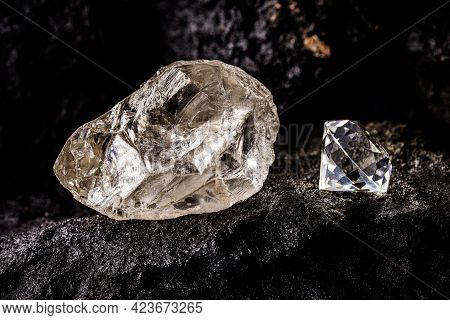 Cut Diamond With Rough Diamond Gem On Kimberlite Rock, On Isolated Background, Diamond Business Conc