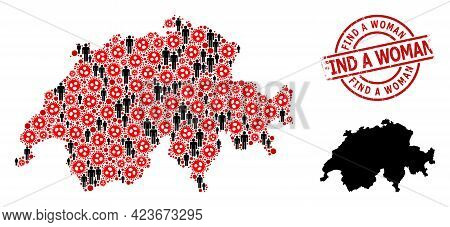 Collage Map Of Switzerland Designed From Virus Icons And People Items. Find A Woman Textured Waterma