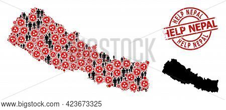 Mosaic Map Of Nepal Designed From Covid-2019 Items And Humans Items. Help Nepal Distress Seal. Black