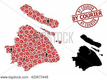 Mosaic Map Of Shanghai Municipality United From Sars Virus Elements And Men Elements. By Courier Tex