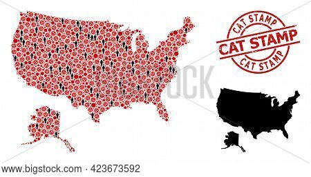 Collage Map Of Usa And Alaska United From Flu Virus Icons And Demographics Icons. Cat Stamp Grunge S