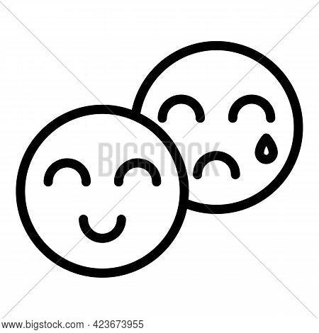 Emoji Feelings Icon. Outline Emoji Feelings Vector Icon For Web Design Isolated On White Background