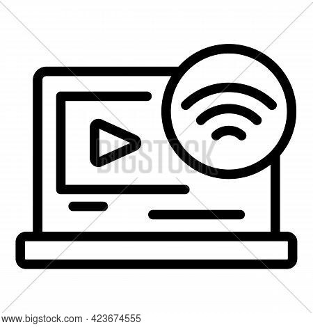 Smart Office Video Channel Icon. Outline Smart Office Video Channel Vector Icon For Web Design Isola