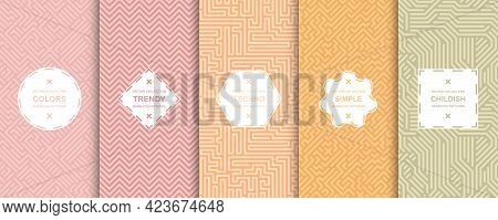 Collection Of Bright Vector Colorful Seamless Geometric Patterns - Striped Design. Vibrant Textile B