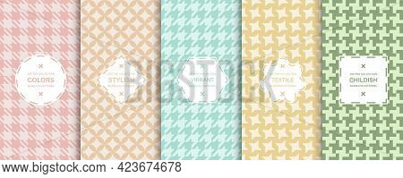 Collection Of Colorful Seamless Textile Patterns - Delicate Design. Vector Geometric Endless Backgro