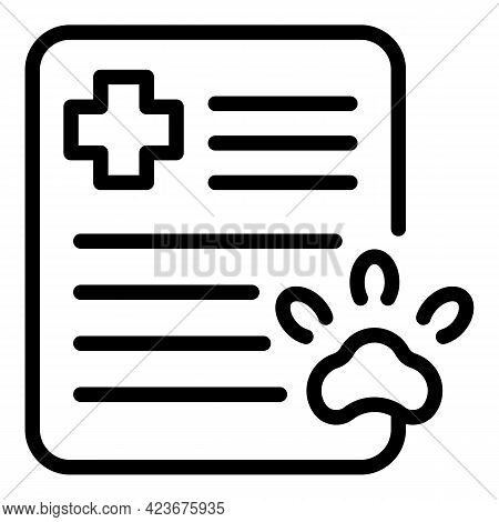 Veterinary Clinic Medical Report Icon. Outline Veterinary Clinic Medical Report Vector Icon For Web