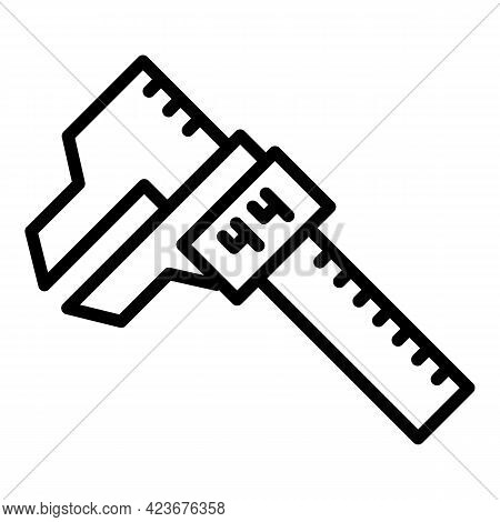 Digital Micrometer Ruler Icon. Outline Digital Micrometer Ruler Vector Icon For Web Design Isolated