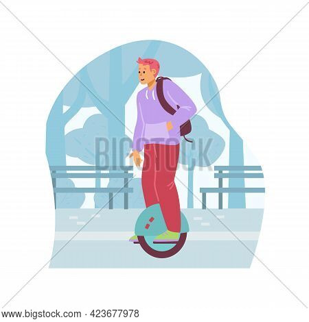 Young Man With Backpack Ride On Eco Urban Transport - Electric Mono Wheel.