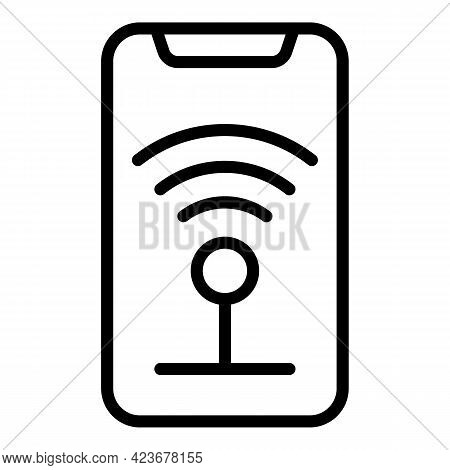 Wifi Phone Internet Icon. Outline Wifi Phone Internet Vector Icon For Web Design Isolated On White B