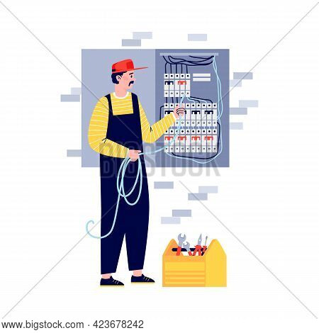 Electrician Or Lineman Connecting Wiring, Flat Vector Illustration Isolated.