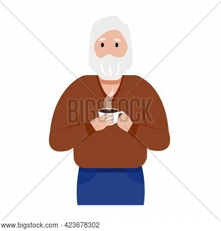 A Gray-haired Elderly Man With A Beard Drinks Hot Coffee. Cartoon Male Character Holding Cup Of Beve